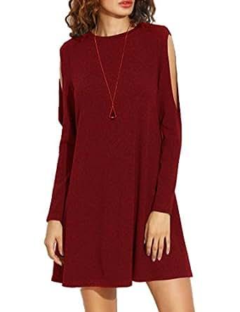 Haola Women's Fall Shoulder Off Long Sleeve T-shirt Dress Basic Shift Dress S WineRed