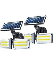 أضواء Chulovs الشمسية في الهواء الطلق استشعار الحركة 80 COB LED أضواء الأمن اللاسلكية 270 درجة زاوية واسعة أضواء الشمس IP65 للماء LED أمام الباب حديقة الفناء