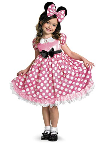 Minnie Mouse Costume For Girls (Disney Minnie Mouse Clubhouse Glow In The Dark Costume, Pink/White,)