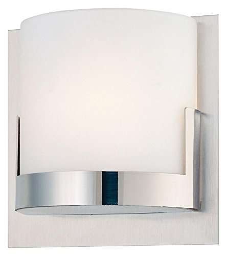 George Kovacs P5952-077, Convex, 1 Light Wall Sconce,  Brushed Aluminum Backplate / Chrome Glass Holders (Sconce Backplate)