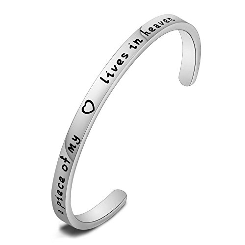 MAOFAED A Piece of My Heart Lives in Heaven Bangle Bracelet,Personalized Memorial Bracelet,Memorial Remembrance Jewelry (Silver)