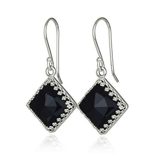 (Ornate Diamond Shaped 925 Sterling Silver Earrings with Square Black Onyx Gemstone)
