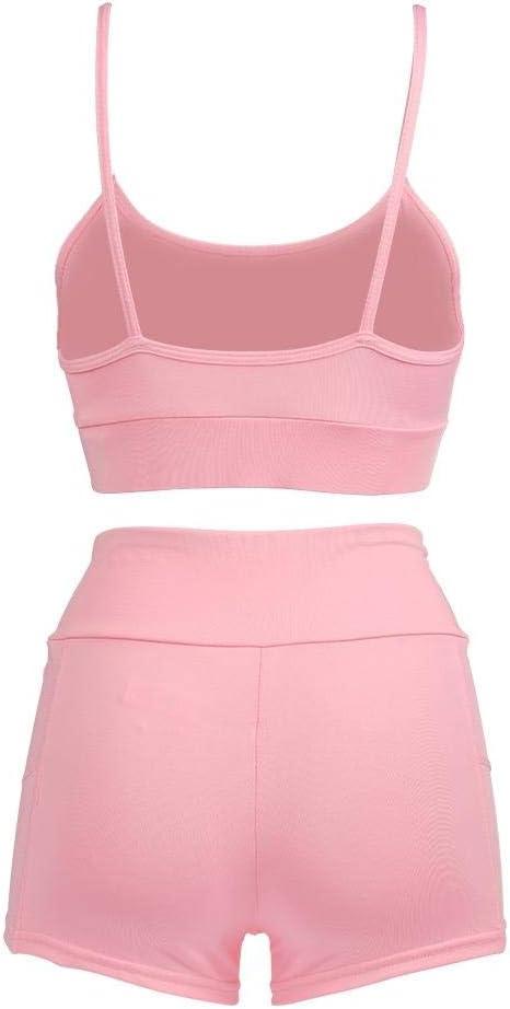 Women Yoga Suit Breathable Workout Bikini Set Sport Bra Racerback Boyshort Two Piece Swimsuit