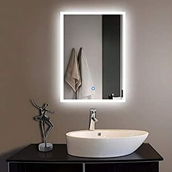 Buy Led Bathroom Makeup Vanity Mirror With Lights Wall Mounted Back Lit 24 X 18 Inch White Light Online At Low Prices In India Amazon In