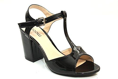 F11260Ap - Sandales à talon - brides en T - style vintage - femme - noir