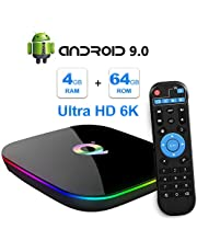 Android TV Box, 2019 TV Box Android 9.0 con 4GB RAM 64GB ROM H6 Procesador Quad Core Cortex-A53 Smart TV Box, soporta 6K Resolución 3D 2.4GHz WiFi 10/100M Ethernet USB 3.0 Reproductor Multimedia
