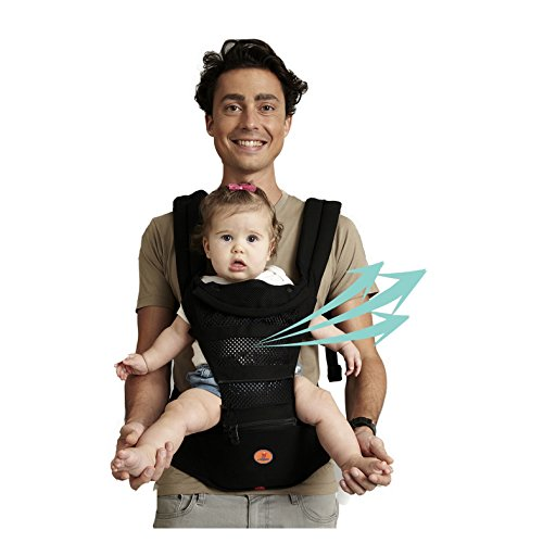 Mesh Baby Carrier Black Hipseat - 2017 New Design 6 Carrying Positions...