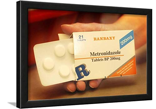 ArtEdge Metronidazole Antibiotic Pills by Tim Vernon, Wall Art Framed Print, 12x18, Black Unmatted