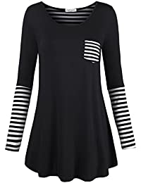 Women's Soft Casual Back And Sleeve Stripe A-Line T Shirt...