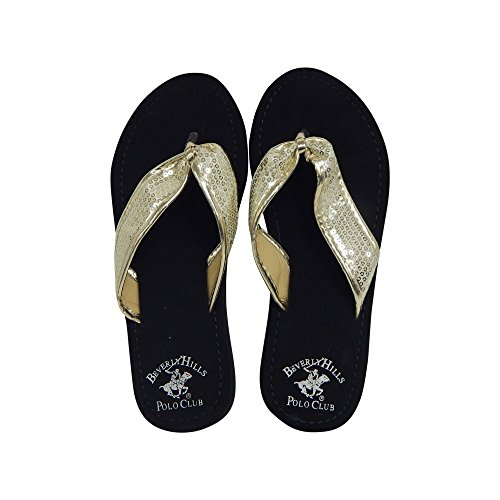 Beverly Hills Polo Club Fara Women's Sequin Flip Flop Sandal Thong (8 US, Gold)