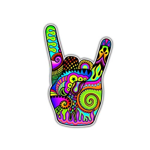 Rock On Hand Sign Music Decal By Megan J Designs - Laptop Wi