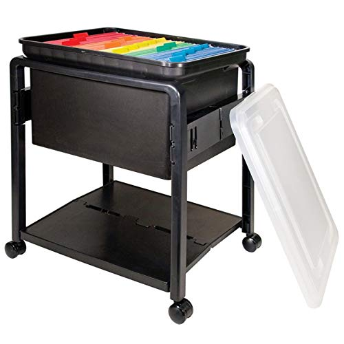 Advantus Folding and Rolling File Cart with Lid, Letter or Legal Size, Black ()