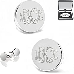 Personalized Circle Silver Stainless Steel Cufflinks Engraved FREE Cuff Links
