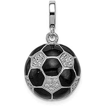 Sterling Silver Girls .8mm Box Chain 3D Cleated Football Soccer Shoe Pendant Necklace