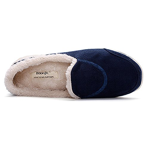 EnllerviiD Women Suede Slip On Soft Fur Walking Shoes Flat Mother Moccasins Blue P5zgHvr