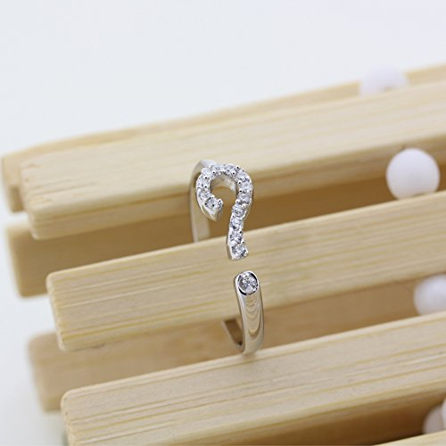 Women Girl Question Mark Shape with Small CZ Platinum Plated Open Ring Adjustable