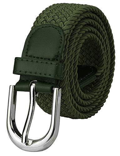 Falari Men Women Canvas Elastic Fabric Woven Stretch Braided Belt - Olive-Medium