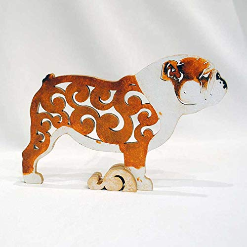 dog figurine statuette hand-painted MDF English bulldog dog statue made of wood