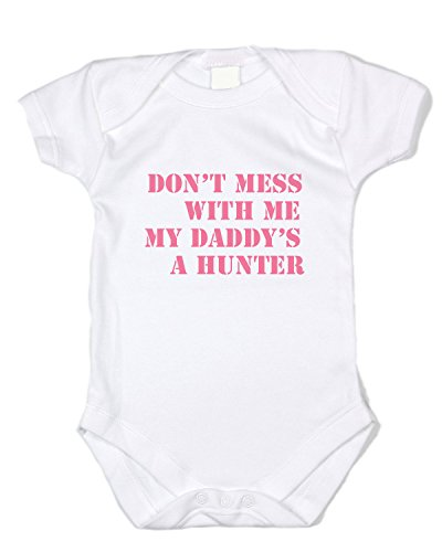 - Funny Baby Clothes - My Daddy's a Hunter - Pink Text, White Bodysuit (0-3 months)