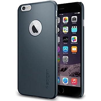 pretty nice f95b7 6dd39 Spigen Thin Fit A iPhone 6 Plus Case with Premium SM Coated Matte Hard Case  with Logo Cutout for iPhone 6S Plus / iPhone 6 Plus - Metal Slate