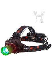 BESTSUN Led-hoofdlamp, oplaadbaar, groen licht, 1000 lumen, groene hoofdlampen, zoom, geschikt voor jagen, nachtzicht, camping, vissen (groen licht)
