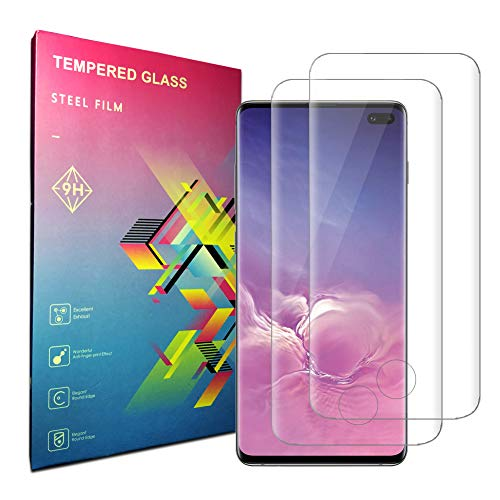 for Galaxy S10 Plus Screen Protector,Galaxy S10 Plus Tempered Glass Screen Protector,[2-Pack][Full Coverage][Easy Bubble-Free Installation][Anti-Scratch] Compatible with Samsung Galaxy S10 Plus