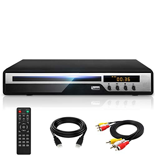 【2021 Newest】 Ceihoit DVD Player for TV with HDMI AV Output, USB Input, HD1080P DVD CD Player, Built-in PAL NTSC System, All Region Free, HDMI/ AV Cable Included