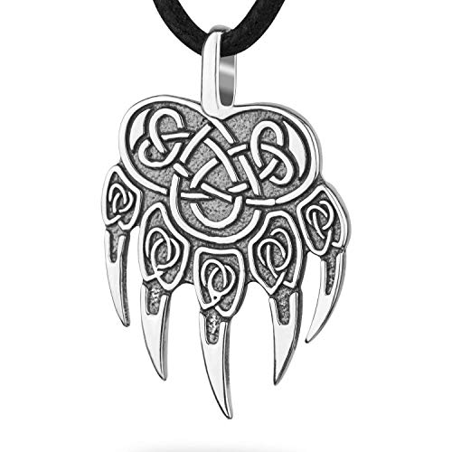 (Viking Odin Bear Wolf Paw Claw Handcrafted Sterling Silver Pendant Necklace Veles Slavic Pagan Mens Amulet with Celtic Knot Asatru Nordic Norse Mythology Jewelry for Men Perfect Father's Day Gift)