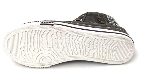 Jm-5709 Mens High-top Denim Sneakers Jeans Di Tela Casual Lace Up Moda Stone-washed Stivali Scarpe, Blu Scuro, Nero, Kaki, Nero / Rosso Kaki