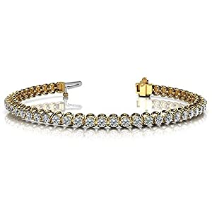 14K Yellow Gold Diamond Round Brilliant Prong Set Tennis Bracelet (4.08ctw.) - Size 10