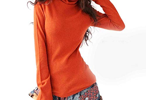 AutumnSweater on Turtleneck Flare Plus Size Knitted Sweater Sweaters and Pullovers,Orange,S ()