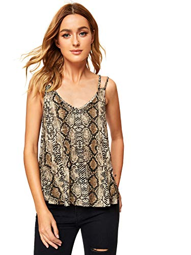MAKEMECHIC Women's Flowy V Neck Strappy Loose Tank Tops Cami Blouse Snake S ()