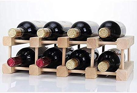 HJXSXHZ366 Estantería de Vino 8 Botellas de Vino Rack Soporte de Botella apilable de Madera - Estante de Almacenamiento - Barra de Cremallera Vino, Botellas ennegrecidas 12 Estante de Vino pequeño