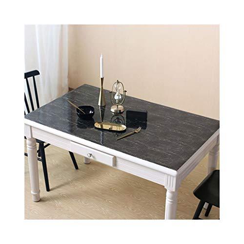 B 90140CM Nappe en verre souple couleur unie marbre noir nordique (Couleur   B, Taille   90  140CM)