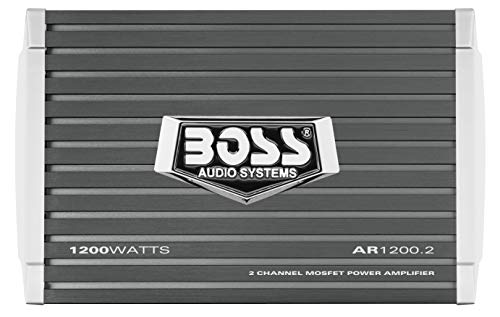 BOSS Audio AR1200.2 2 Channel Car Amplifier - 1200 Watts, Full Range, Class A/B, 2-4 Ohm Stable, MOSFET Power Supply, Bridgeable (Full 2 Range Channel)