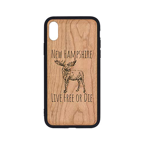New Hampshire Live Free OR DIE Moose - iPhone Xs Case - Cherry Premium Slim & Lightweight Traveler Wooden Protective Phone Case - Unique, Stylish & Eco-Friendly - Designed for iPhone Xs ()