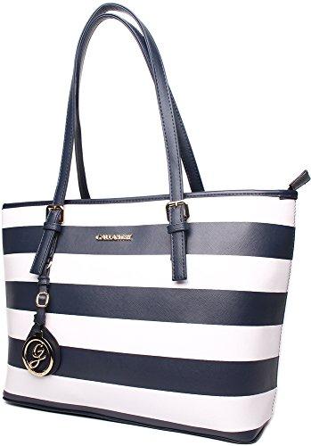 348a39438ce43 Shopper Gestreift Paris Damen Gallantry Tasche Handtasche Blau Weiß 0mNw8n