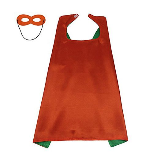 LYNDA SUTTON Kids Costumes, DIY Children Helloween Party Favors 1 Cape+1 Mask Double Sided Orange+Green Color 27.5