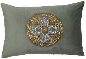 Diveenas Cushion Velvet Rect 40x60cm Green Floral Gold