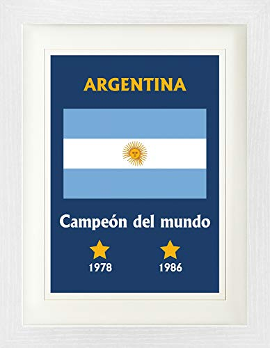 Football Framed Collector Poster - World Champion Argentina Campeón Del Mundo 1978 1986 (16 x 12 - Cup Argentina World 1986