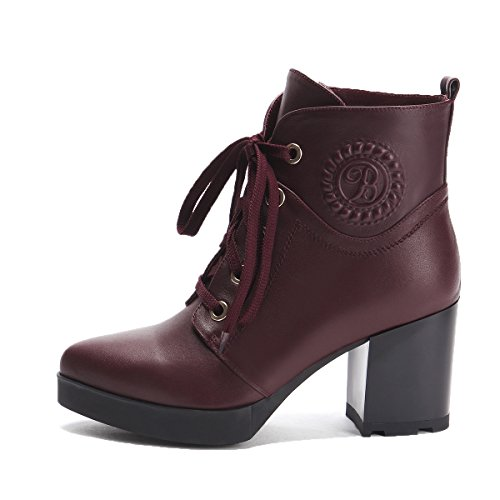 MINIVOG Thick High Heel Womens Lace-up Martin Boots Red