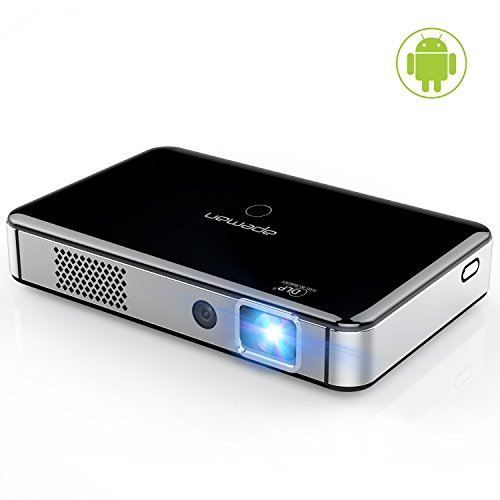 APEMAN Mini Video Projector Portable Android 4.4 DLP HD Rechargeable Built-in Battery Support 1080P WiFi HDMI USB MHL Bluetooth Auto Focus Short Throw Pico Smartphone Game 1000:1 Contrast 1000 Lumens by APEMAN
