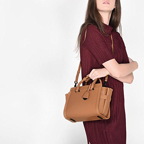 Handbag Bag Boxy Nude Charles Keith Pewter Red 17SS Crossbody amp; PU Colour Brown Shoulder Bag Trapeze Black FqcfWAzc