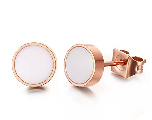 Cloud Strife Halloween Costume (BBX Jewelry Rose Gold Plated Stainless Steel Round Enamel Stud Earrings,White)