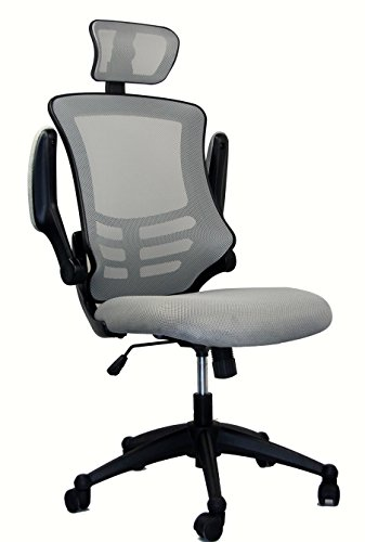 Modern High Back Mesh Executive Chair With Headrest And Flip Up Arms. Color: Silver Grey