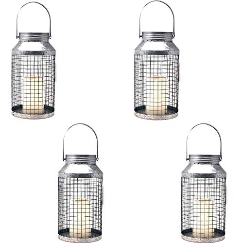 The Nifty Nook Country Wedding Rustic Metal Wire Flameless LED Candle Lantern, Galvanized Finish - Set of 4