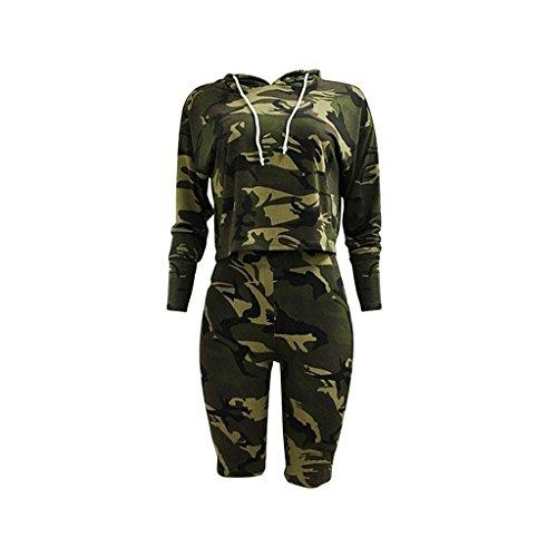 MagiDeal Women's 2 Piece Drawstring Hooded Crop Top Sweatshirt + Half Pants Sweatpants Set - Army Green, (Sweater Jumper Set)