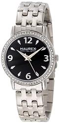 Haurex Italy Women's XS385DNN Giglio Round Stainless Steel Crystal Black Dial Watch