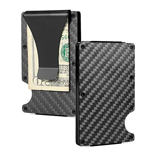 RFID Minimalist Wallet Front Pocket Wallet Mini Credit Card Holder w/Money Clip