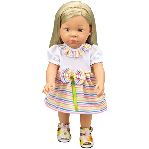 HappyBB Baby Doll Clothes Skirt Fits 14-16 inches American Girl Doll - White + Rainbow Color Skirt